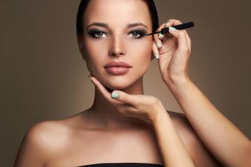 Makeup artist applies eye shadow. Beautiful woman face. beauty girl with Perfect make-up