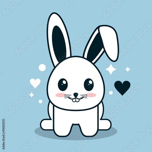 """Kawaii Icon. Rabbit Cartoon Design. Vector Graphic"