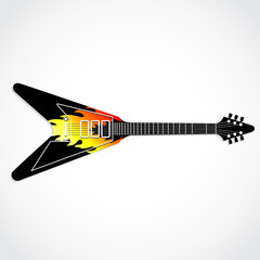 electric guitar with painted flames