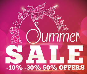 Summer Sale Offers with Sun and Bokeh Poster, Vector Illustration