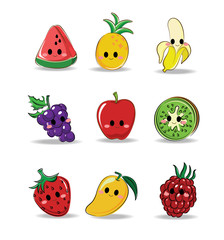 Vector set of Mix fruit character (Watermelon, Pineapple, Banana, Grapes, Apple, Kiwi, Strawberry, Mango, Raspberry)