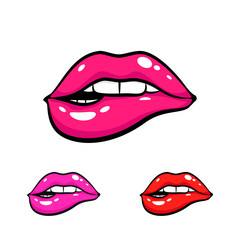 Female mouth biting her lips teeth . Vector comic illustration in pop art retro style isolated on white background. Three color variants.