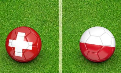 Team balls for Switzerland vs Poland football tournament match, 3D rendering