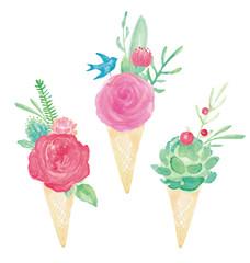Watercolor Ice Cream Cone Flower Bouquets Vector Set