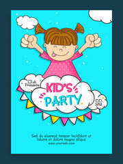 Kids Party Template, Banner, Flyer or Invitation design.