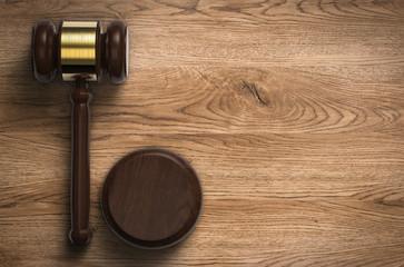 gavel judge on wooden background