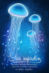 Magic glowing jellyfish underwater. Undersea world. Fairy tale illustration for inspiration