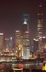 Aerial photography at Shanghai bund Skyline of night scene