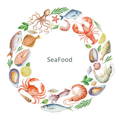 Watercolor conceptual illustration of seafood and spices.