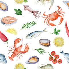 Watercolor seamless pattern with seafood.