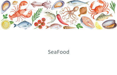 Watercolor set of seafood, vegetables and spices.