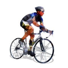 Cycling. Abstract geometrical vector road cyclist on his bike. A