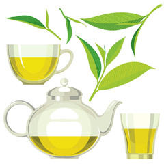 Green tea leaves, tea, cup, glass, flat illustration, set