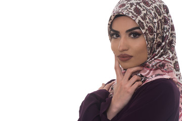 Muslim Woman Wearing Hijab On White Background