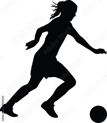 Girl soccer player vector
