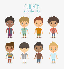 Set of vector cute boys isolated on white background.