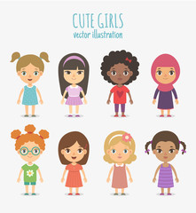 Set of vector cute girls isolated on white background.
