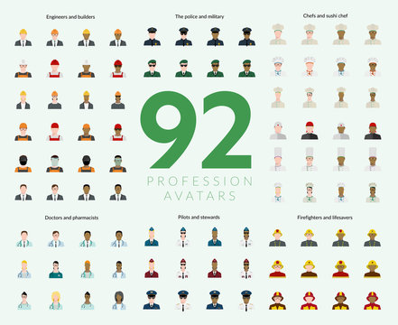 Set of 92 flat profession avatars. Engineers and builders, firefighters and lifesavers, police and military, pilots and stewards, chefs and sushi chef, doctors and pharmacists. Vector illustration.
