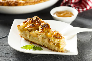 Apple pie with cottage cheese streusel and caramel