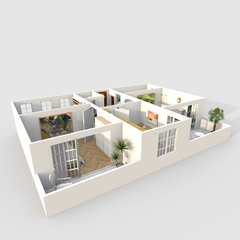 3d interior rendering perspective view of furnished home apartment with balcony: room, bathroom, bedroom, kitchen, living-room, hall, entrance, door, window,