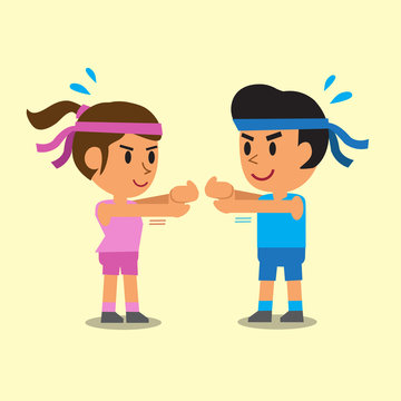 Cartoon a man and a woman doing wrist extension stretch exercise