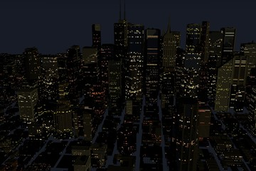 Urban Night City in Motion. Nice 3D Rendering