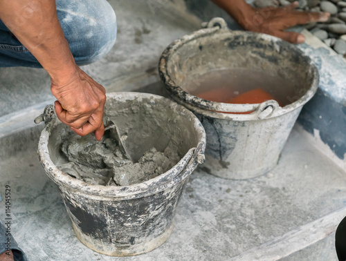 Gray Portland Cement : Quot cement portland gray fresh mortar mix with spatula tool