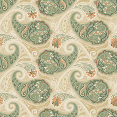 Paisley Pattern. Hand drawn seamlessly repeating ornamental wallpaper or textile pattern with Paisley motives in vector format.