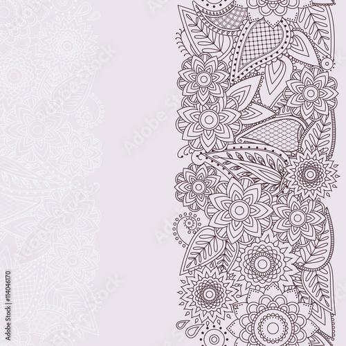 Henna Flowers Mehndi Design Vector Seamless Pattern Stock Image And