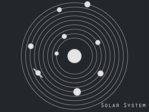 Solar system planets, space objects. Solar system illustration in original style. Vector.