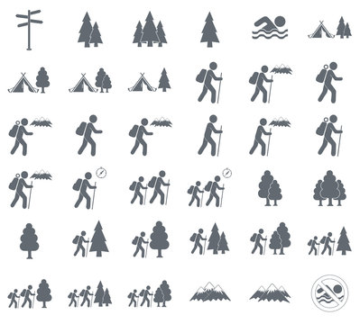 Set of Hiking tourists icon. Vector illustration..