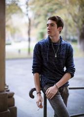 young man model in city center of reggio emilia italy