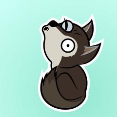 Wolf howling cartoon