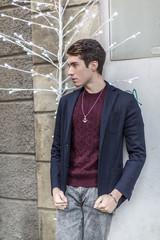 man in city center with casual dress in reggio emilia