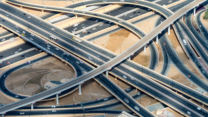 Major roads intersection, aerial view
