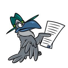 Grey crow document cartoon illustration isolated image animal character