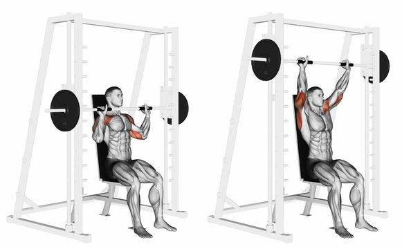 Machine Shoulders Press. Exercising for bodybuilding. Target muscles are marked in red. Initial and final steps. 3D illustration