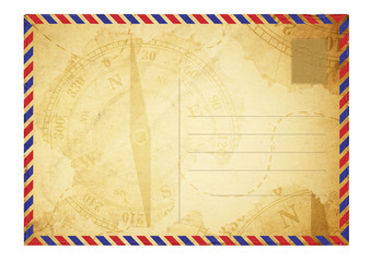 old postcard with space for text, grunge paper background