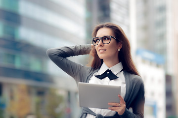 Urban Woman Wearing Glasses Holding  PC Tablet