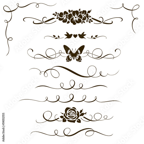Set Of Decorative Floral Elements Calligraphic Dividers Flowers