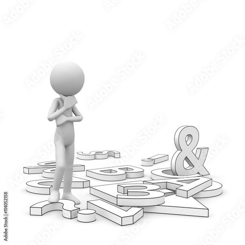 Wei es 3d m nnchen gr beln nachdenken berlegen for Boden cartoon