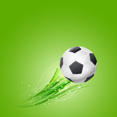 soccer ball flying over green background. vector illustration