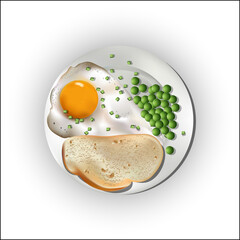 Food on a plate, egg with bread and peas.