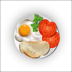 Food on a plate, egg with bread and tomatoes.
