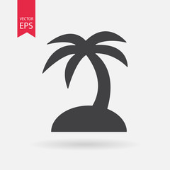 Tropical island icon. Travel trip symbol. Palm Tree sign isolated on white background. Flat design style. Vector illustration.