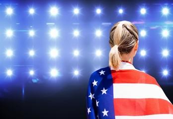 American sportswoman is posing