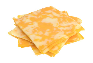 Slices of Colby-Jack cheese on a white background.