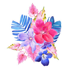 Bouquet with pink and blue realistic watercolor flowers.