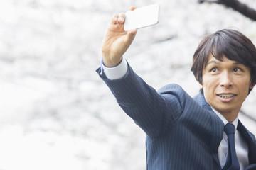 桜の下で写真を撮る男性