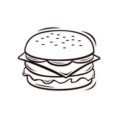 Burger line art vector